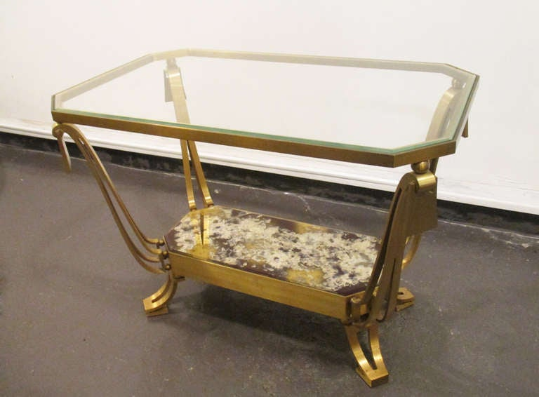 Robert And Mito Block Bronce Pair Of Side Tables Eglomise Glass At 1stdibs