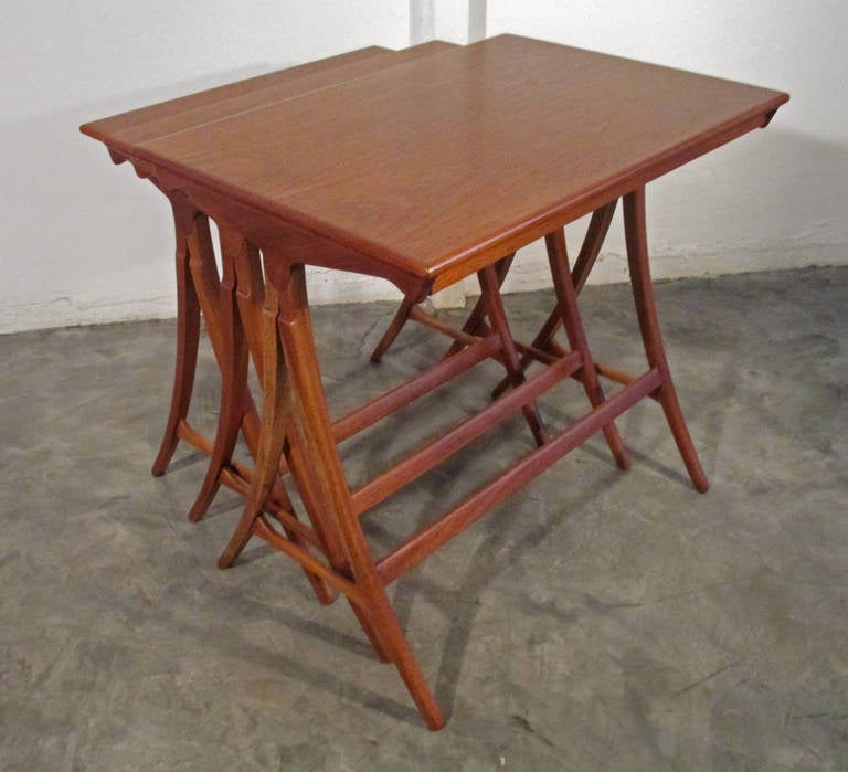 Antique Wood Nesting Tables Set Of 3 ~ Set of three wooden nesting tables at stdibs