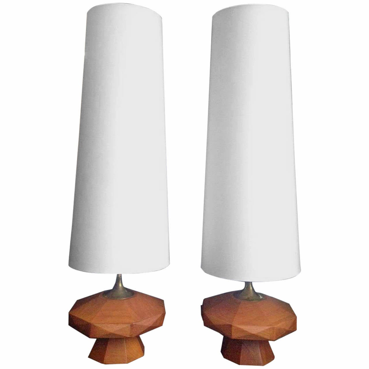 pair of mexican mid century wood table lamps at 1stdibs. Black Bedroom Furniture Sets. Home Design Ideas