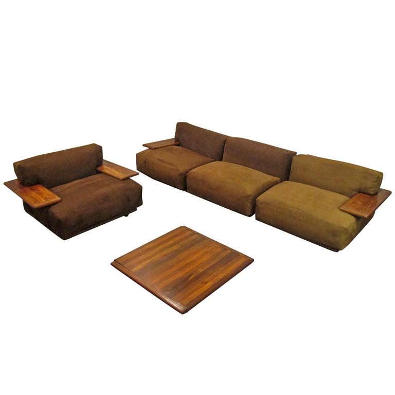 "Sofa With Center Table: Mario Bellini ""Pianura"" Lounge Set Modular Sofa And Center"