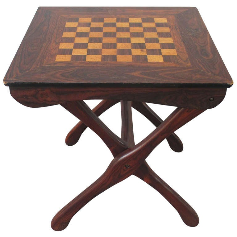 Don Shoemaker Folding Chess Table Tropical Woods at 1stdibs