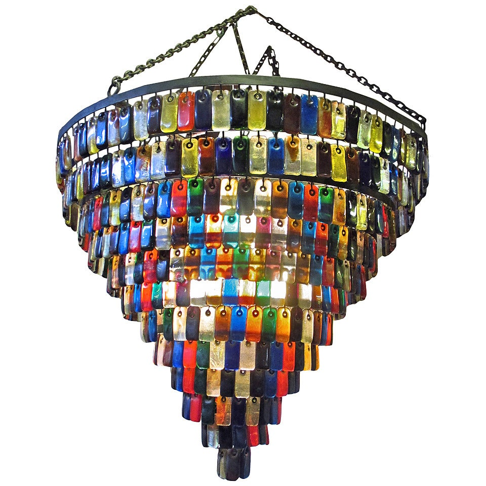 Feders Giant Hall Chandelier Of Blown Glass At 1stdibs