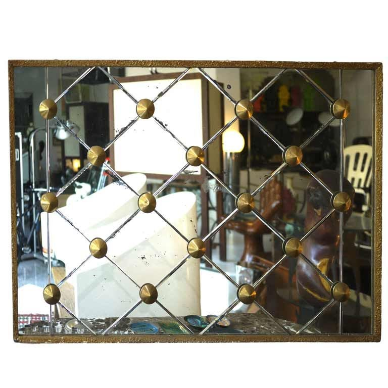 Large wall mirror 50 s brass diamond design at 1stdibs for Big square wall mirror