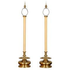 Pair of Mid Century Brass Candlestick Lamps