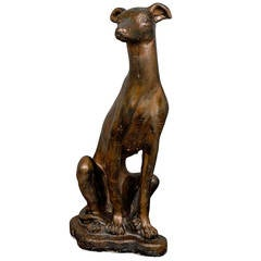 Whippet Dog Statue in a Bronze Finish