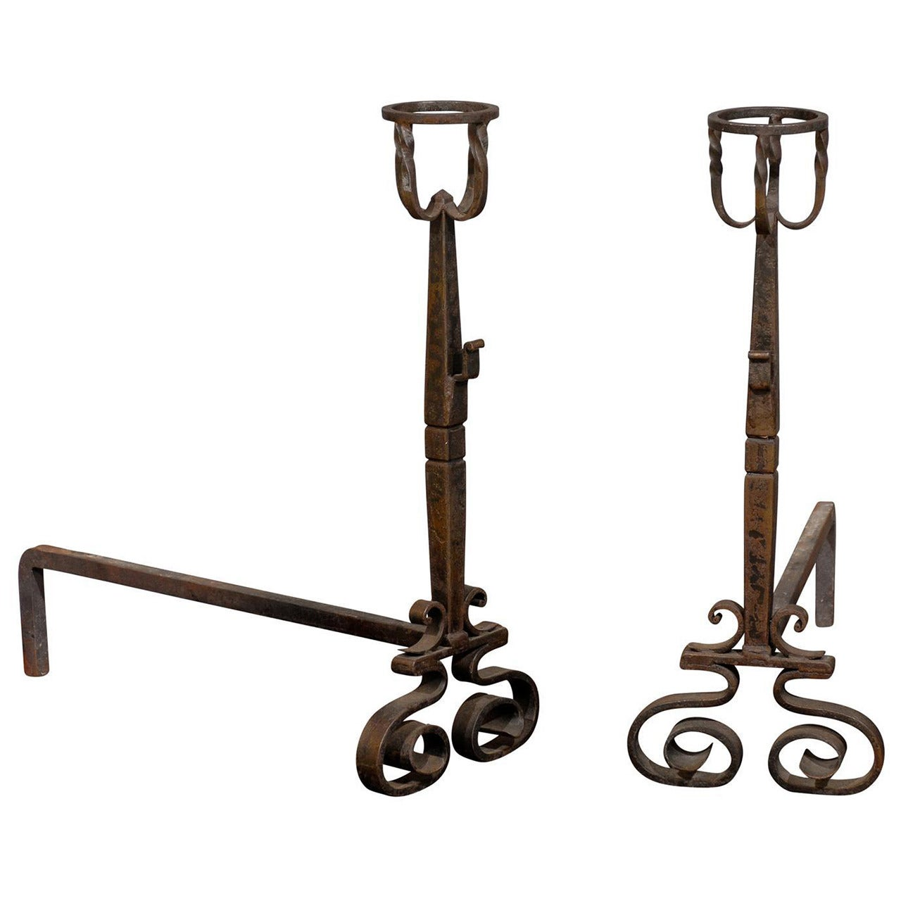 Tall Pair of French Wrought Iron Andirons