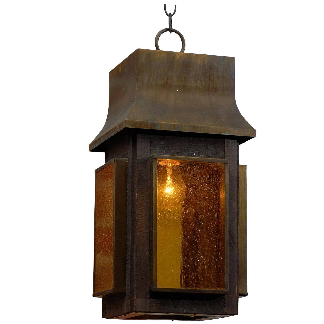 Arts and Crafts Copper Lantern with Amber Art Glass Panels