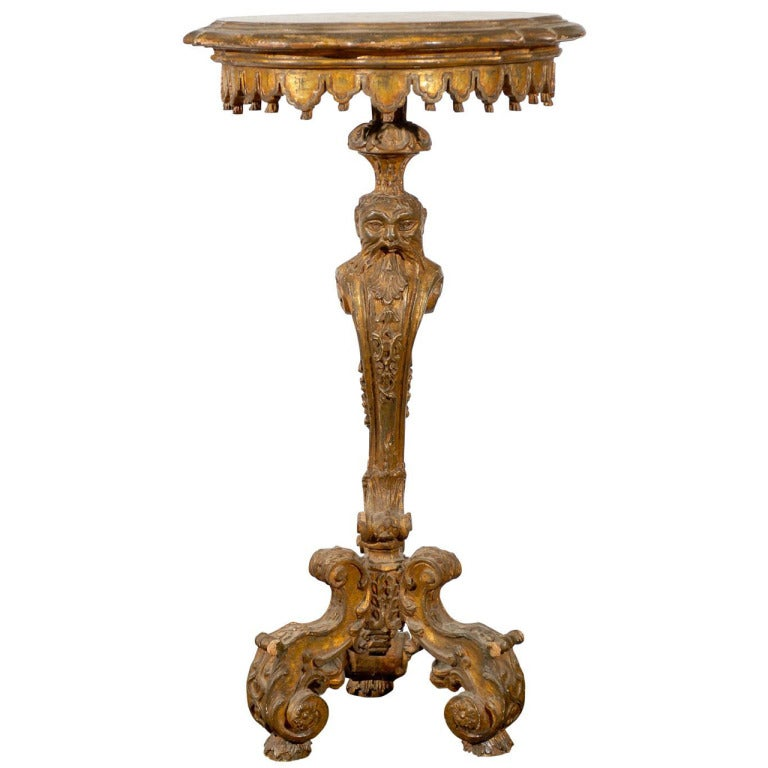 This antique french cherry side table is no longer available - 18th Century Venetian Giltwood Candle Stand For Sale At