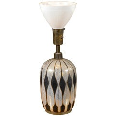 Mid Century Modern Lamp with Gilded Stylized Feathers