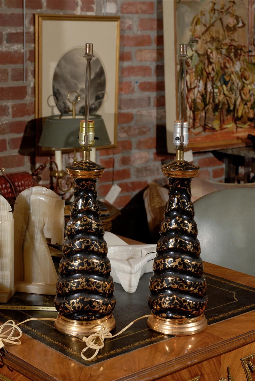 Midcentury Black And Gold Splatterware Lamp For Sale At