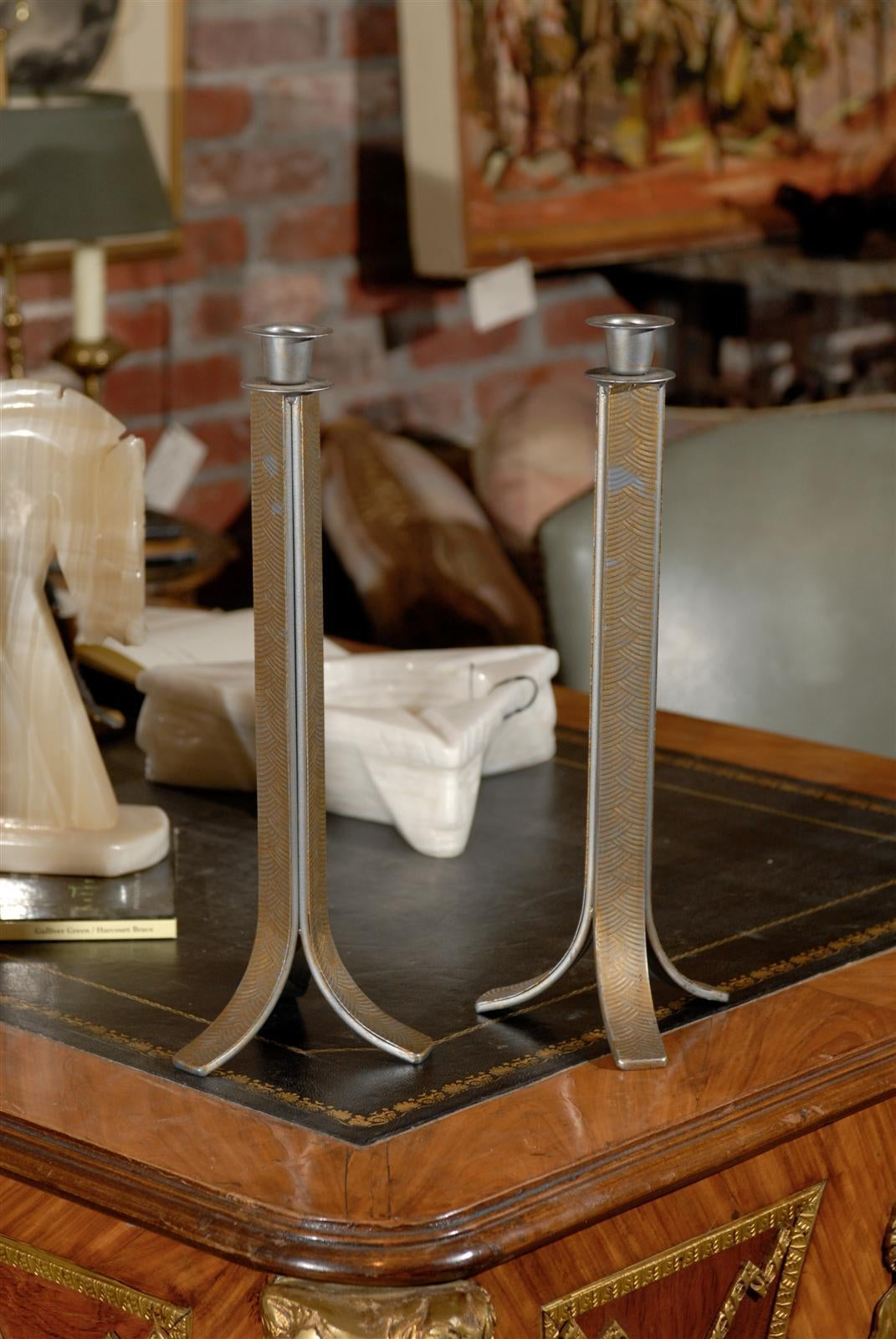 Steel Pair of Art Deco Candlesticks For Sale