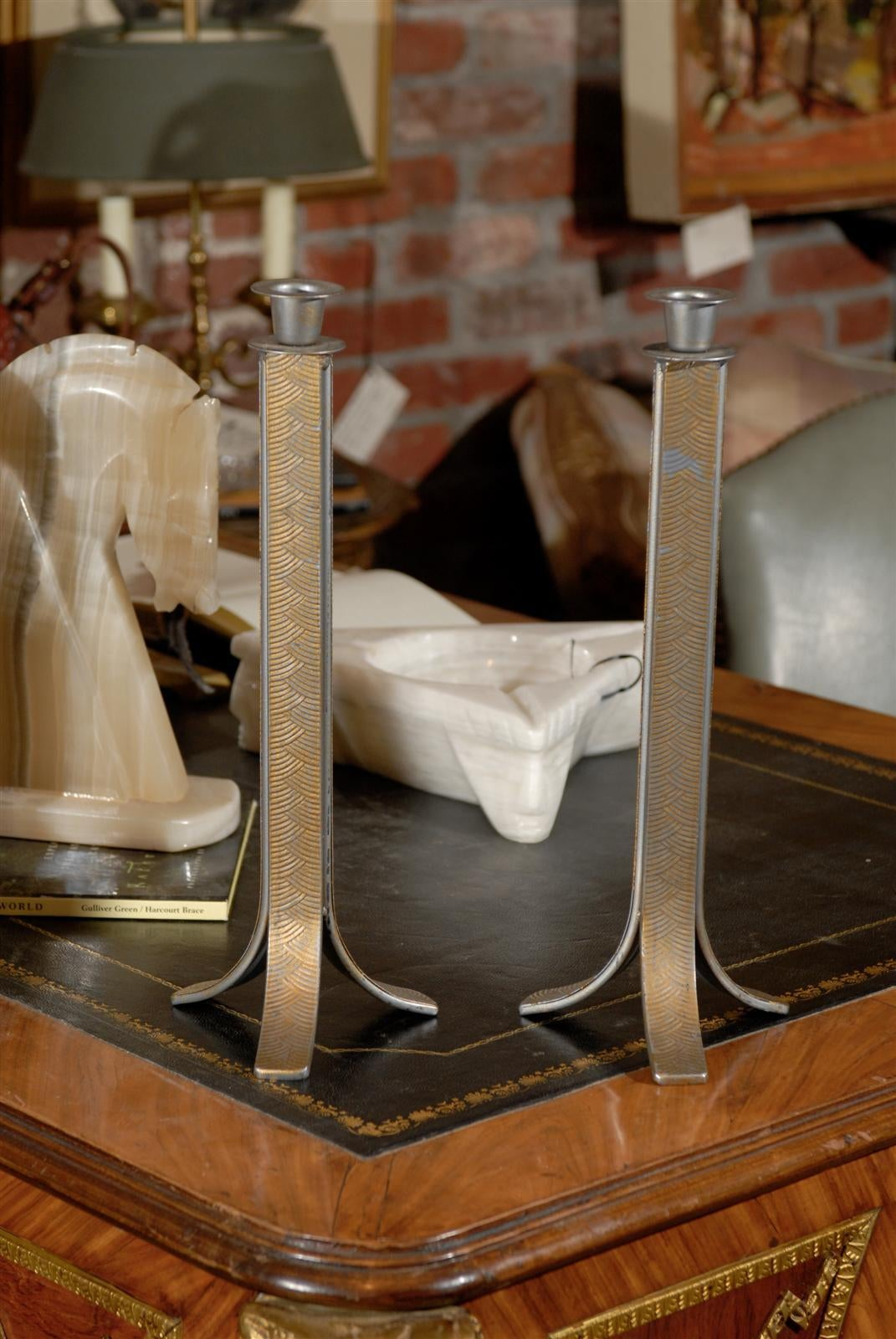 20th Century Pair of Art Deco Candlesticks For Sale