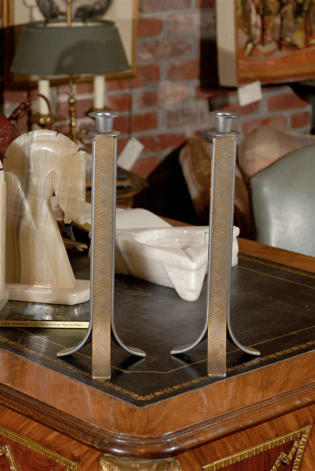 Pair of Art Deco Candlesticks In Good Condition For Sale In Atlanta, GA