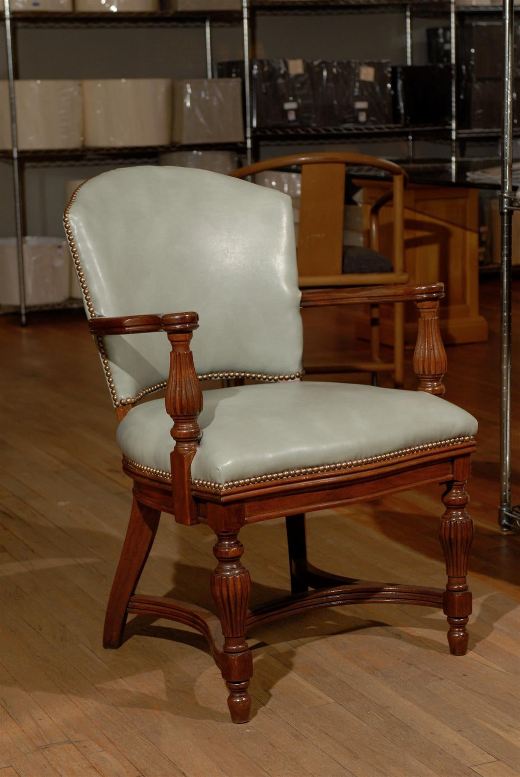William IV Leather Library Chair 2