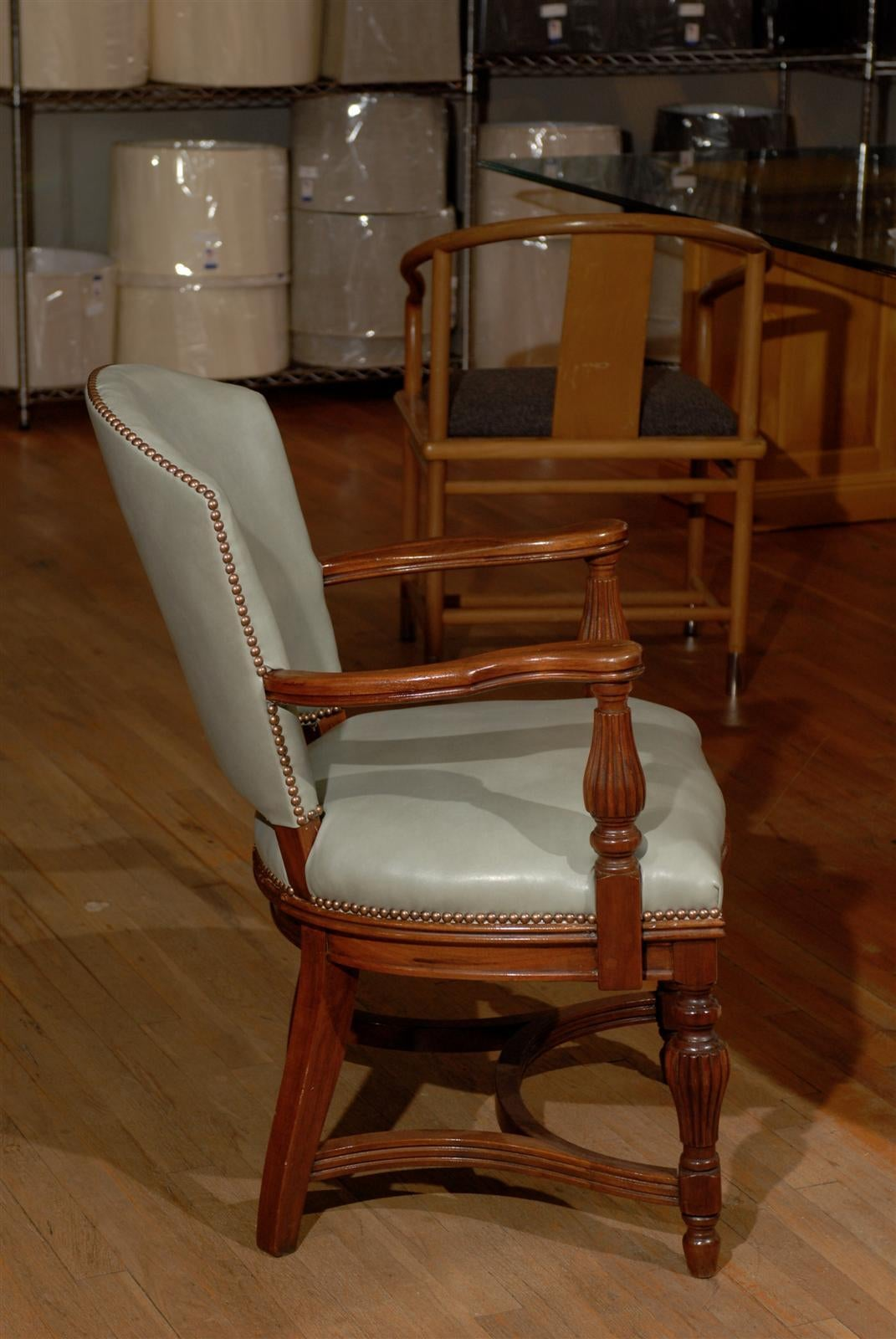 William IV Leather Library Chair 8