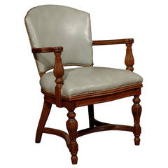 William IV Leather Library Chair