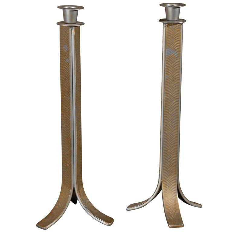 Pair of Art Deco Candlesticks For Sale