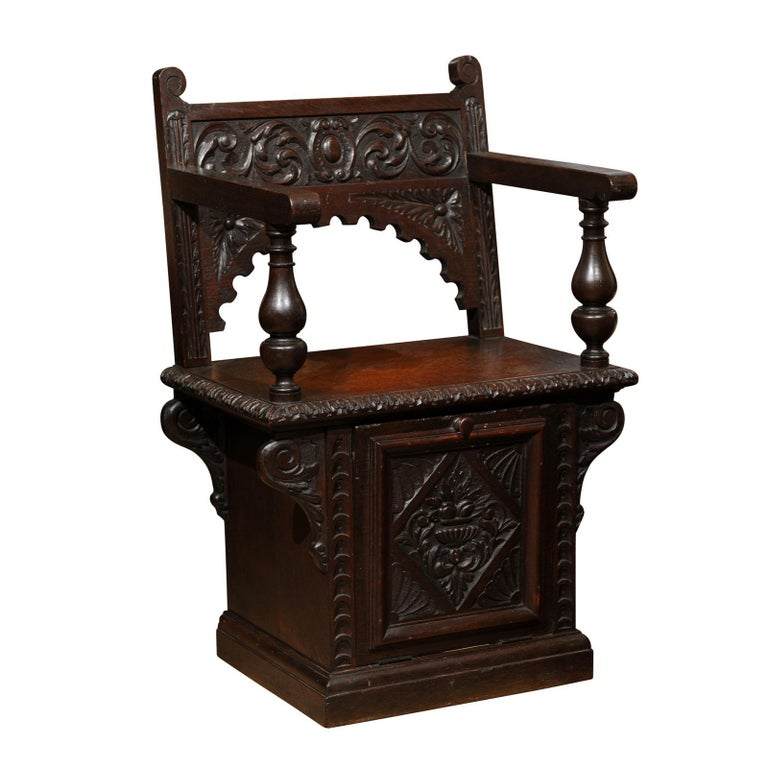 Italian Renaissance Revival Oak Cabinet Chair For Sale At 1stdibs