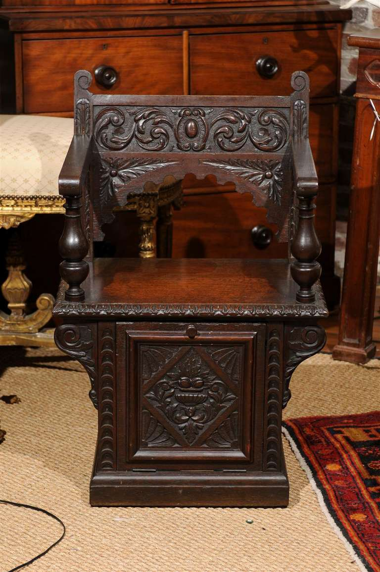 Italian Renaissance Revival Oak Cabinet Chair For Sale 4