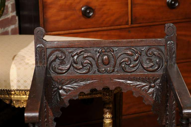 Italian Renaissance Revival Oak Cabinet Chair For Sale 1
