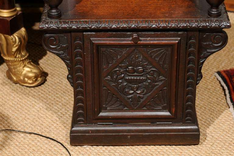Italian Renaissance Revival Oak Cabinet Chair For Sale 5