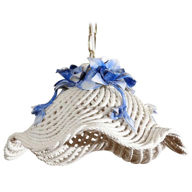 Blue and White Porcelain Flower Basket Chandelier