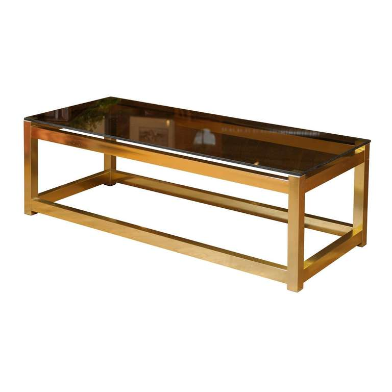 Brass Coffee Table With Smoked Glass Top At 1stdibs