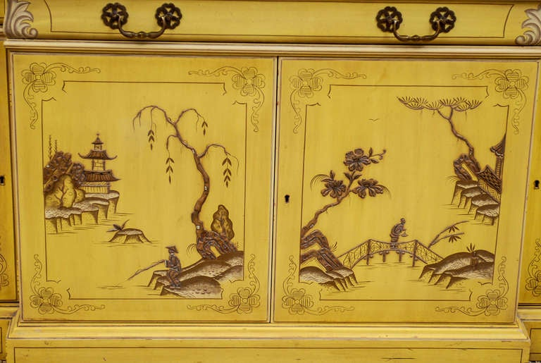 Mid Century Chinoiserie Breakfront With Desk Drawer At 1stdibs