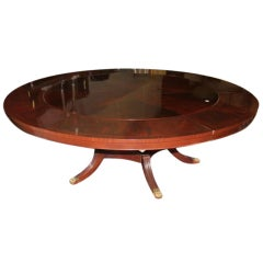 Italian Dining Table with Star Inlay and 5 Crescent Leaves