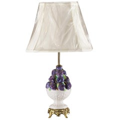 Midcentury Italian Porcelain Fruit Topiary Lamp