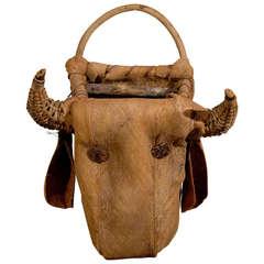 Wicker Cow Head Basket