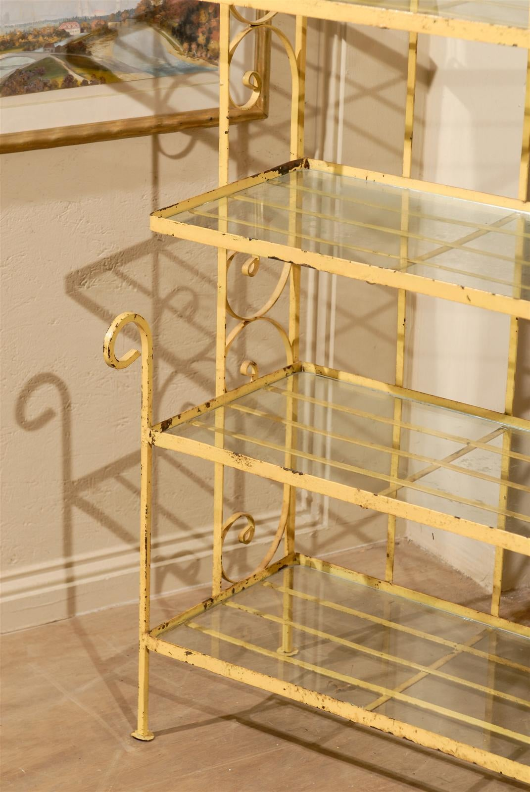 Petite Midcentury Yellow Baker S Rack For Sale At 1stdibs