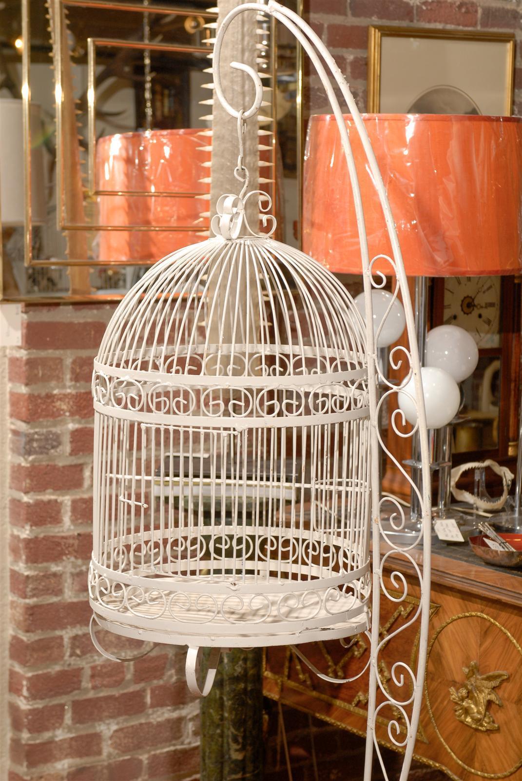 Vintage Iron Bird Cage On Stand At 1stdibs