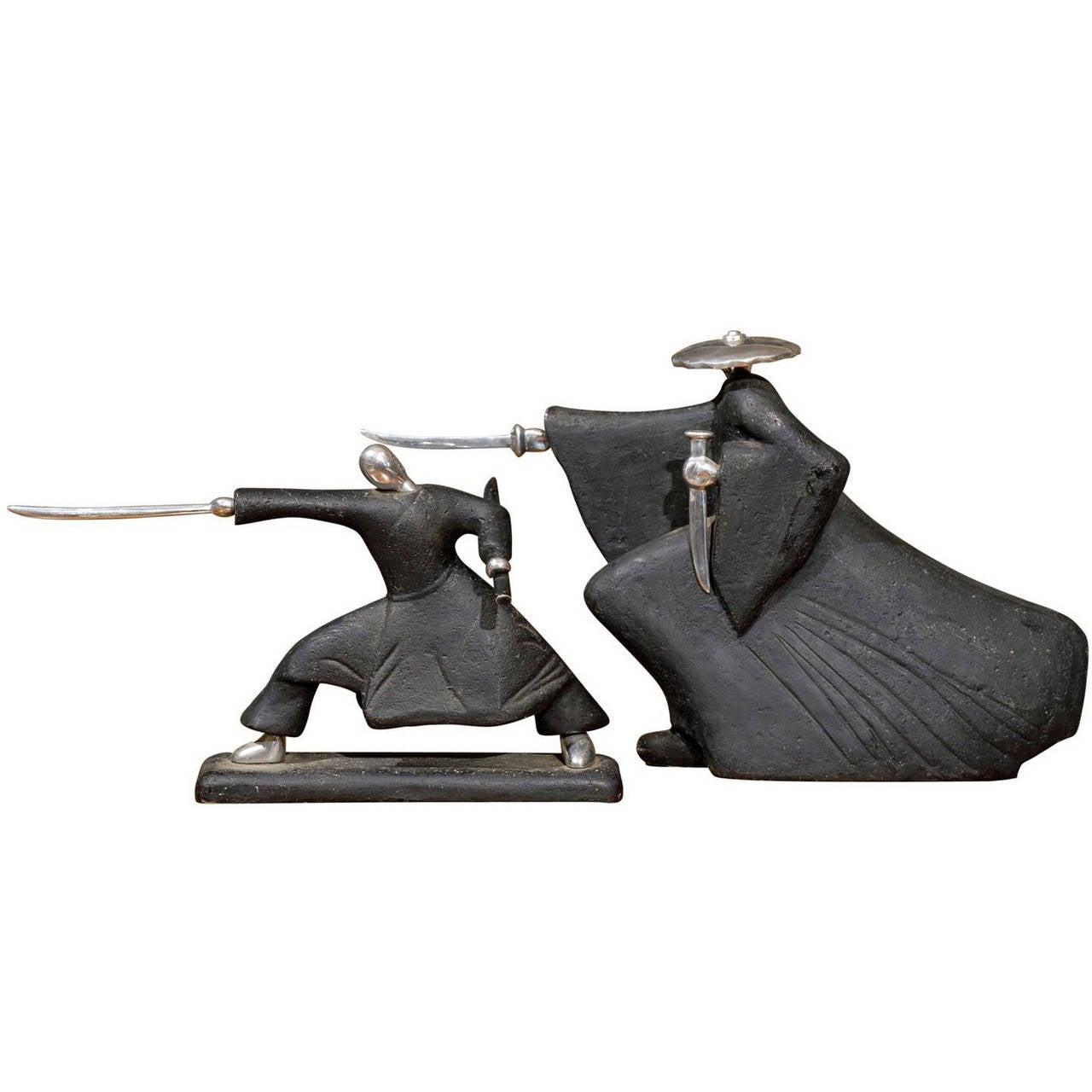 pair of samurai sculptures for sale at 1stdibs