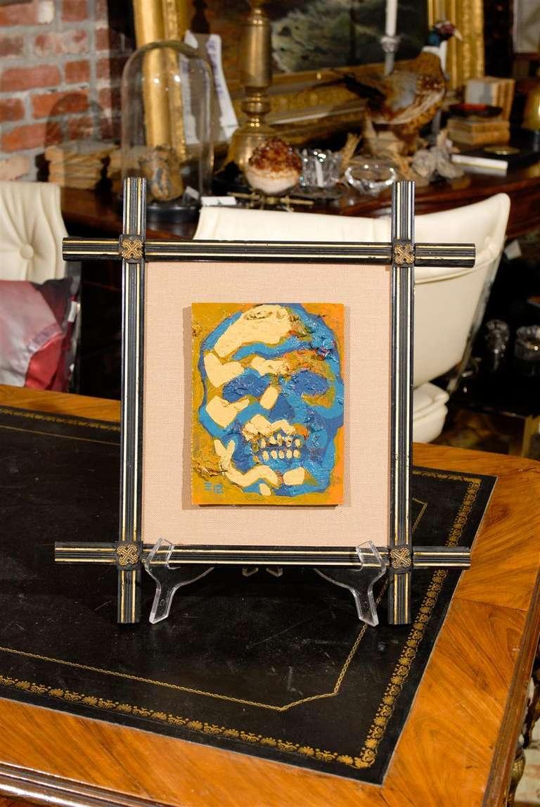 Skull And Crossbones Framed Painting For Sale At 1stdibs