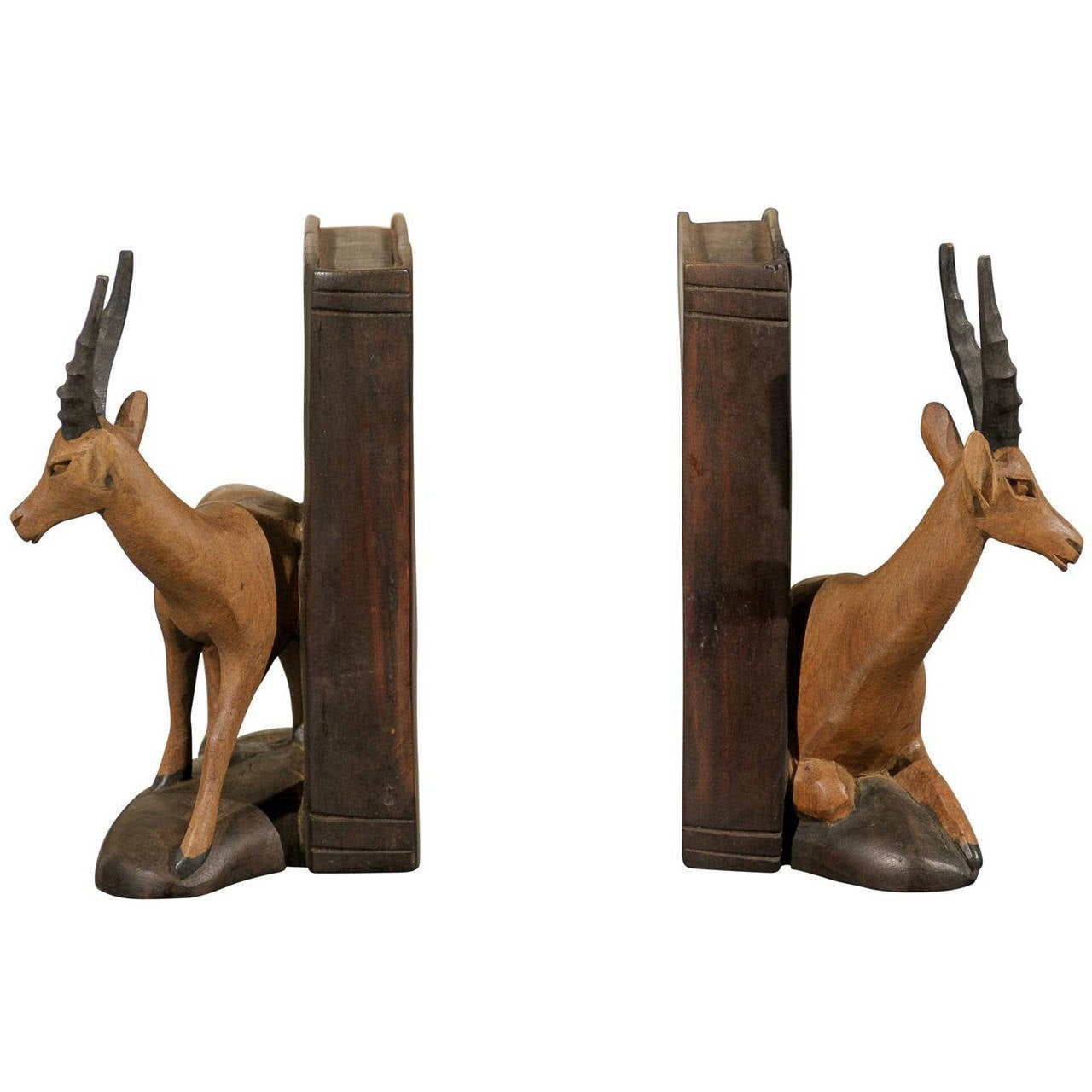 Superb img of Pair of Hand Carved Wooden Bookends at 1stdibs with #6A462B color and 1280x1280 pixels