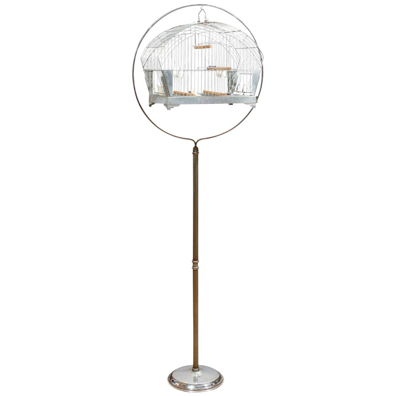 American Art Deco Bird Cage on Stand by Hendryx