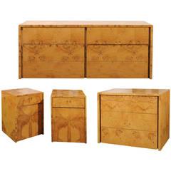 Milo Baughman Burl Wood Suite