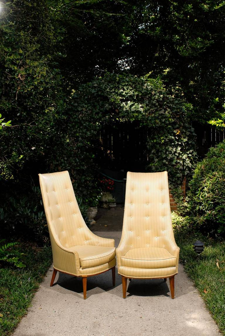 Mid-Century Modern Pair of Mid-Century Tufted High Back Chairs For Sale