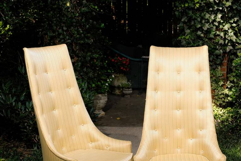 Upholstery Pair of Mid-Century Tufted High Back Chairs For Sale