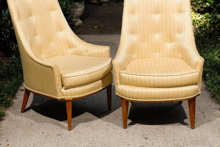 American Pair of Mid-Century Tufted High Back Chairs For Sale