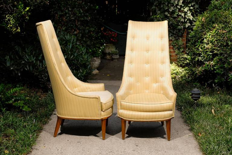 Pair of Mid-Century Tufted High Back Chairs For Sale 2