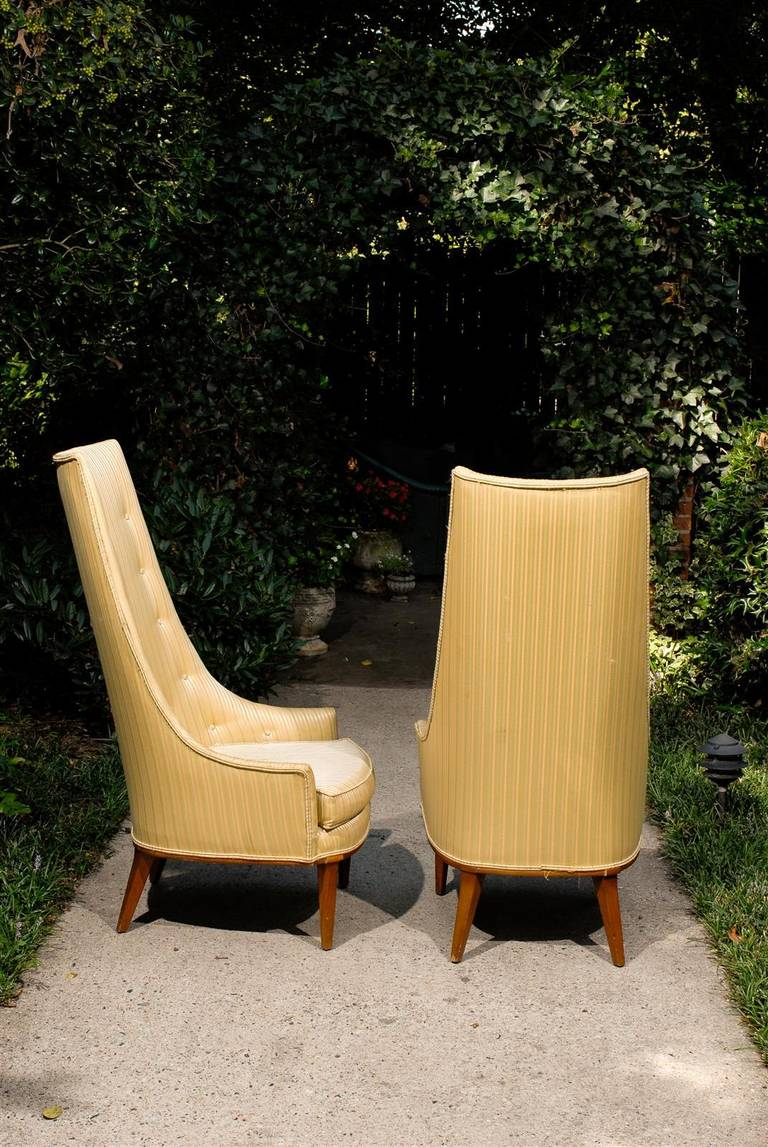 Pair of Mid-Century Tufted High Back Chairs For Sale 3