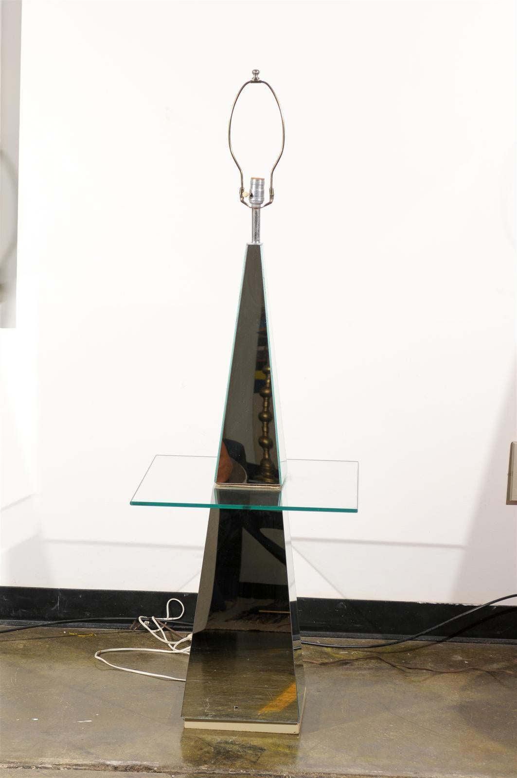 Hollywood Regency Mirrored Floor Lamp 2
