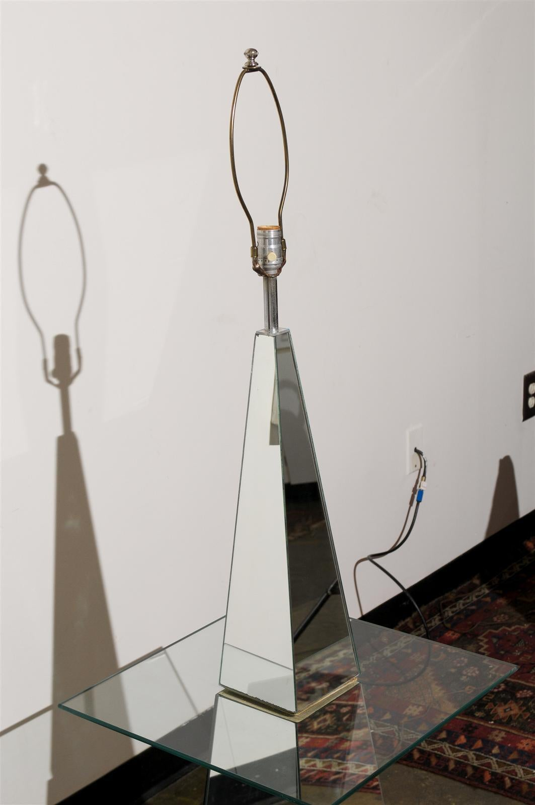 20th Century Hollywood Regency Mirrored Floor Lamp For Sale