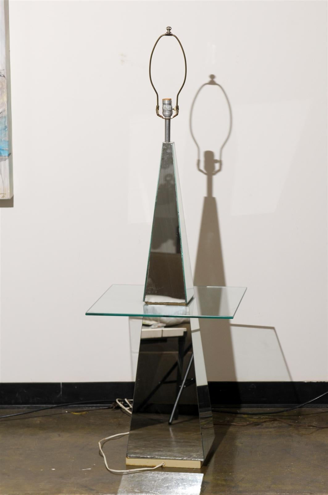 Glass Hollywood Regency Mirrored Floor Lamp For Sale
