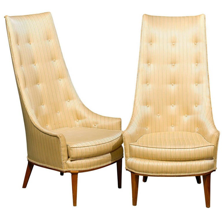 Pair of Mid-Century Tufted High Back Chairs For Sale