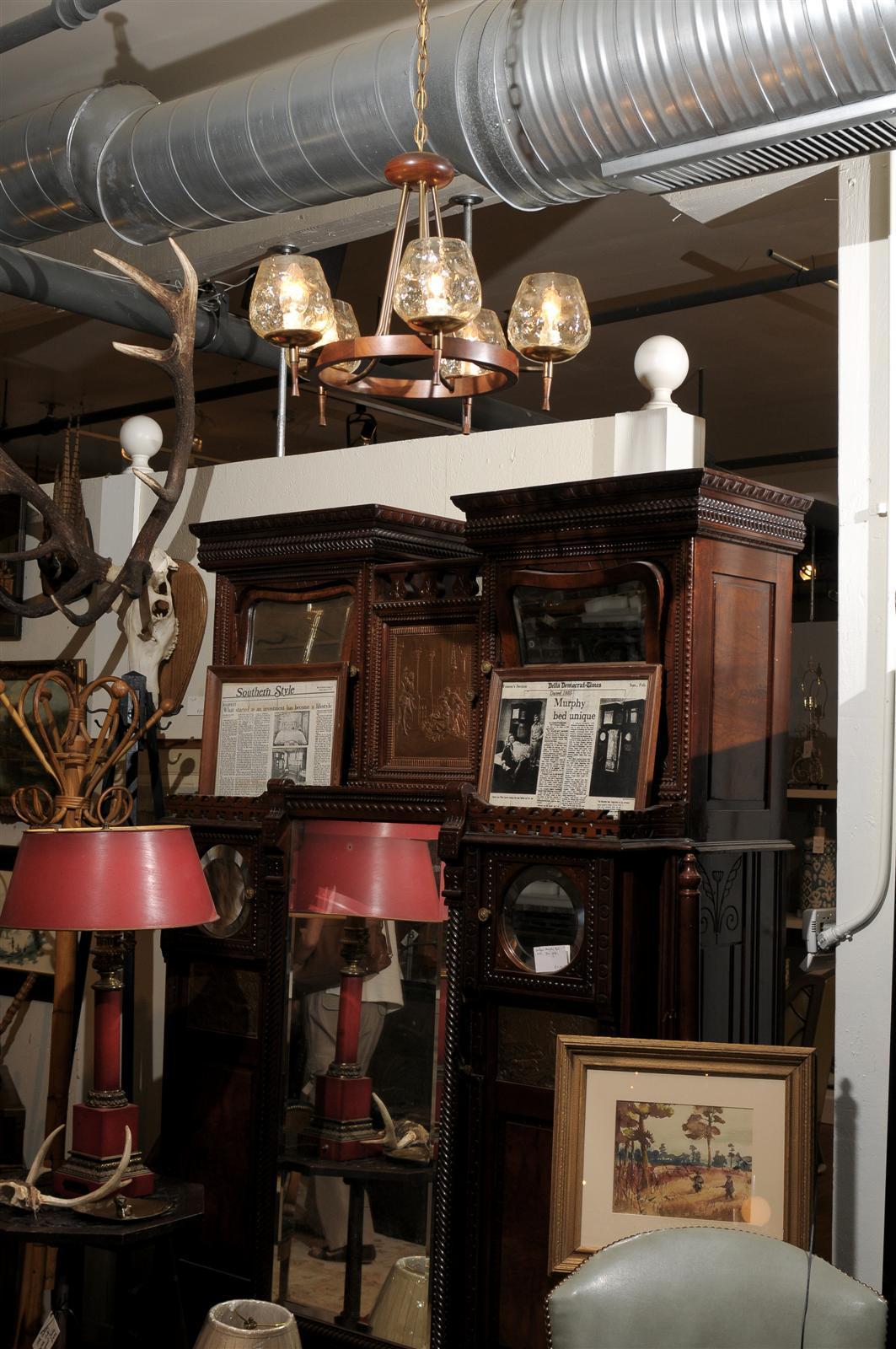 Mid-Century Modern Mid Century Chandelier of Teak and Brass For Sale