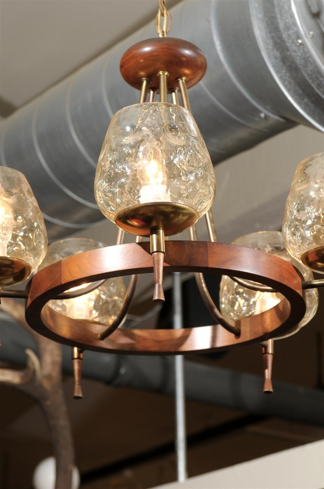 Mid Century Chandelier of Teak and Brass For Sale 1
