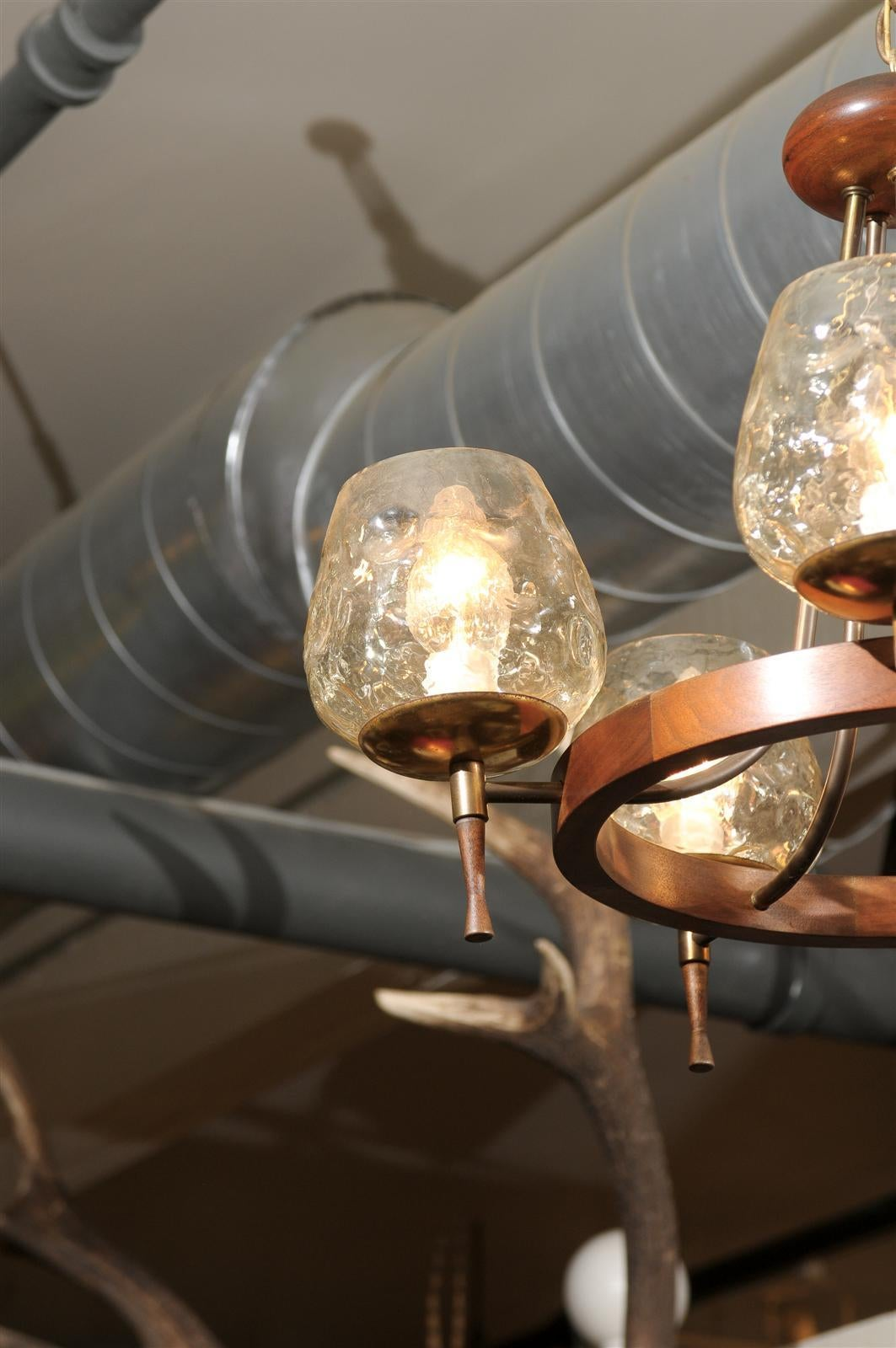 20th Century Mid Century Chandelier of Teak and Brass For Sale